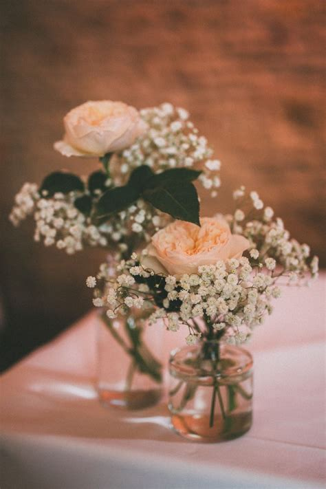 pretty peach country boho wedding wedding table flowers