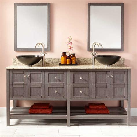 double vessel sink vanity 72 quot everett double vessel sink vanity ash gray bathroom