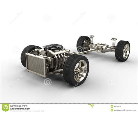 Car Chassis With Engine Stock Illustration. Image Of Show