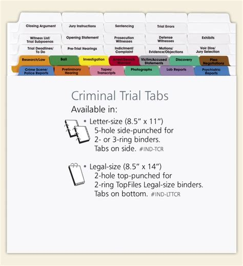 trial notebook template criminal trial index tabs letter size