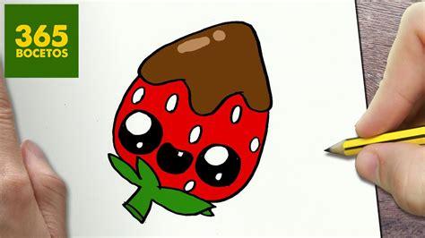 COMO DIBUJAR FRESA KAWAII PASO A PASO Dibujos kawaii