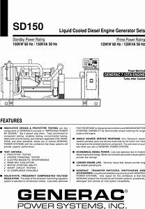 Generac Power Systems Sd150 Users Manual Sd100