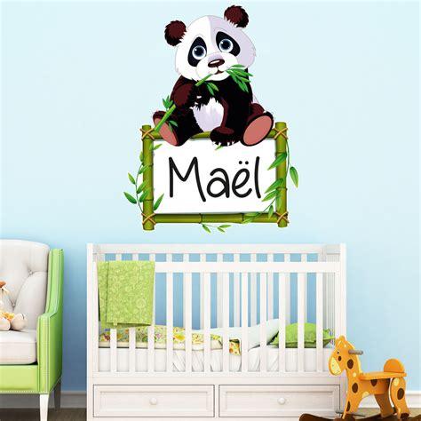 chambre bébé panda sticker prénom personnalisable panda et bambou