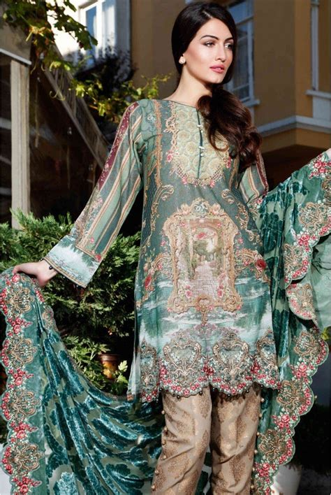 Mariab Linen Winter Collection 2016  Sea Green Dl403