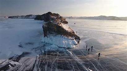Russia Winter Lake Baikal Icy Tourist During