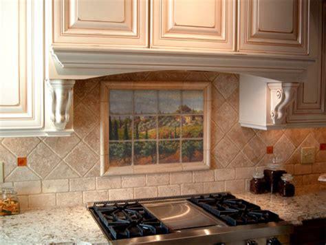 tuscan marble tile mural  italian kitchen backsplash