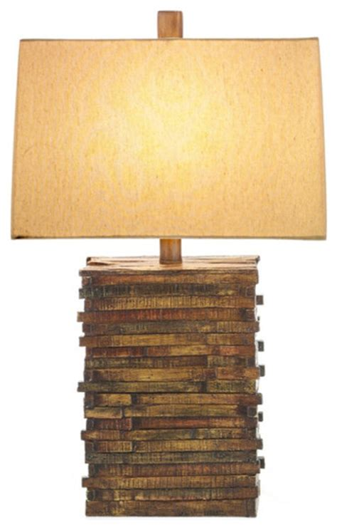 Stylecraft Natural Wood Table Lamp Eclectic Table