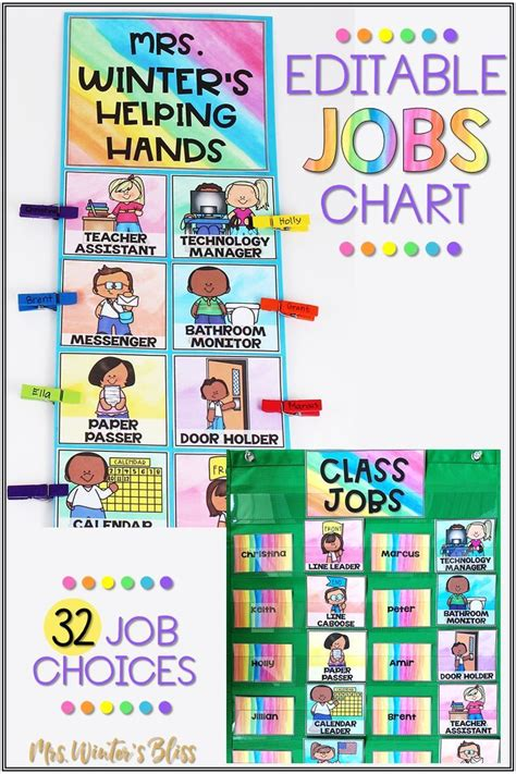 classroom jobs chart editable    images