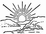 Sunset Coloring Pages Coloringtop sketch template