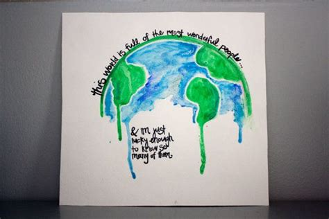 Original Watercolor Globe Quote Painting Can By