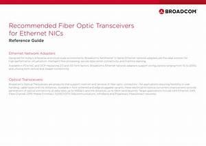 Broadcom Recommended Fiber Optic Transceivers For Ethernet