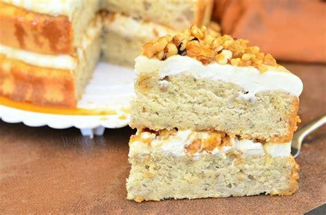 caramel banana nut cake  cook  smiles