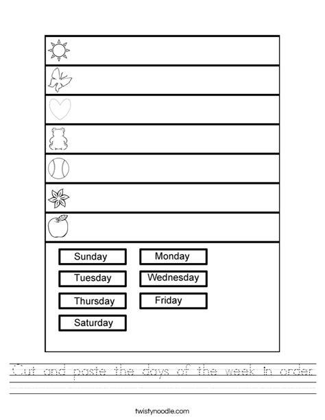cut  paste  days   week  order worksheet