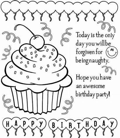Birthday Happy Coloring Card Pages Printable Cards