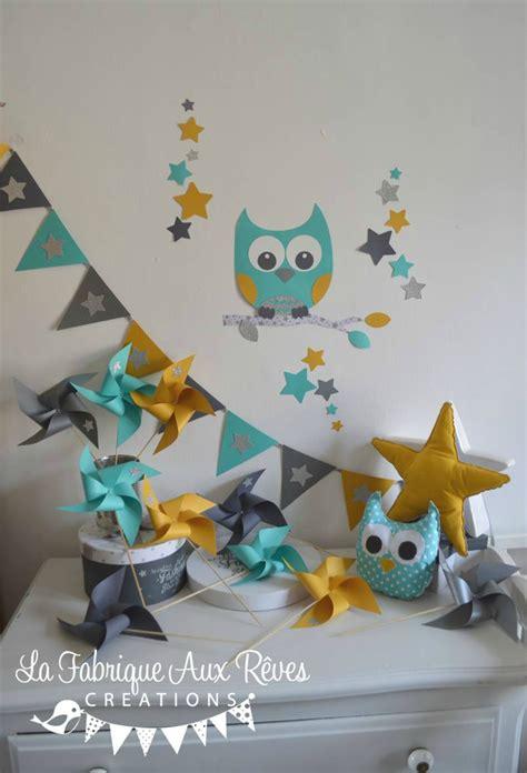 hibou chambre bébé décoration chambre enfant bébé hibou étoiles turquoise