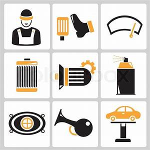 Garage And Car Repair Service Icons In Black And Orange Theme