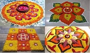 Simple Rangoli Designs For Diwali 2017 with Marigold