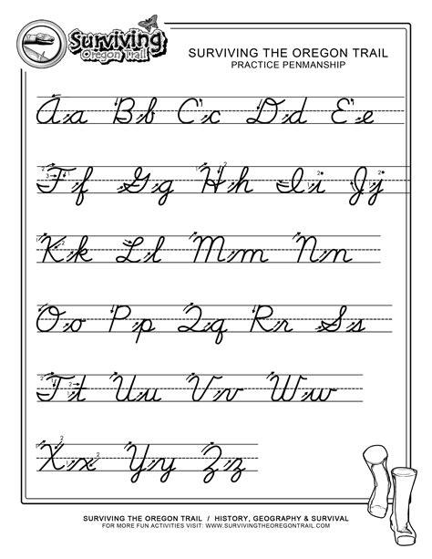 Practice Penmanship  Free Abc's Printable Cursive Writing Worksheet  Xlarge  Surviving The