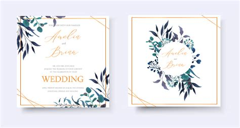 Wedding Floral Golden Invitation Card Save The Date Rsvp