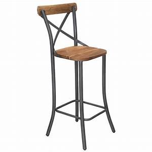 Chaise De Bar Metal : tabouret de bar bistrot de style industriel en m tal et bois le d p t des docks ~ Teatrodelosmanantiales.com Idées de Décoration