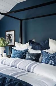 Bedroom, Ideas, Dark, Blue, Pillows, 64, Ideas, Bedroom