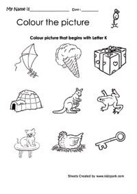 color that begins with k color the picture that begins with letter k printable