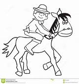 Coloring Cowboy Horse Riding Pages sketch template