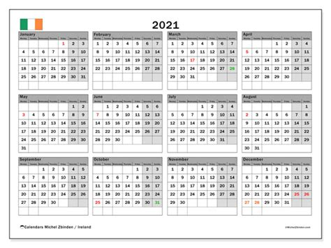 annual calendar  ireland michel zbinden en
