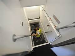 Photos  the Airbus A380 s secret hangout zone for cabin crew      Airbus A380 Inside Stairs