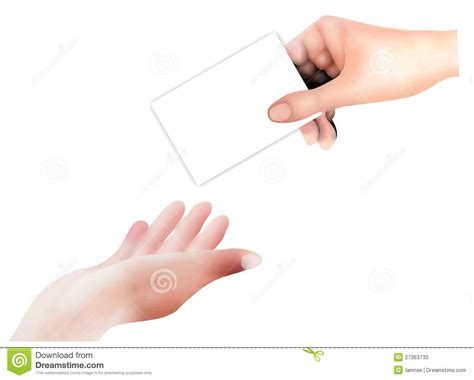 Business Persons Give And Receive A Business Card Stock