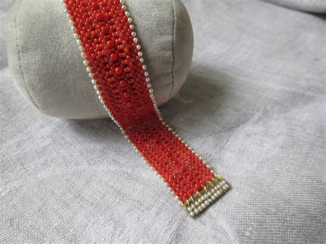 woven coral  pearl bracelet   pearl