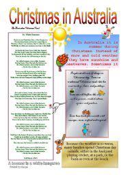 english teaching worksheets christmas in australia