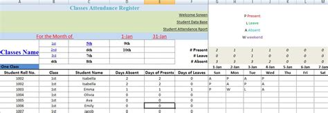 monthly school attendance report template excel
