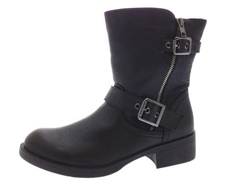 womens biker boots womens biker boots mid calf ankle buckle warm winter