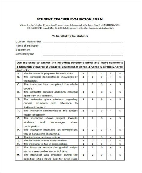 college teacher evaluation form evaluation forms in word