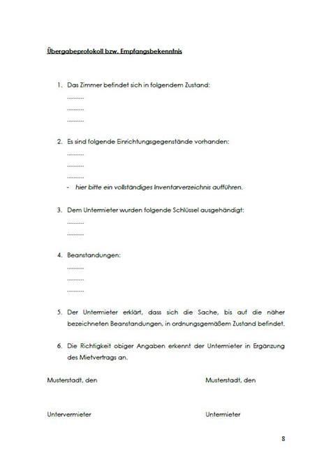 untermietvertrag vorlage pdf untermietvertrag wg zimmer vorlage sofort zum