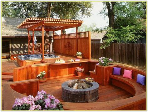 decks with tubs and pits deck designs with fire pit fire pits pinterest deck design decking and hot tubs