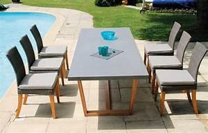 Table Et Chaise De Jardin En Bois : table de jardin bois massif et plateau b ton 6 chaises ~ Teatrodelosmanantiales.com Idées de Décoration