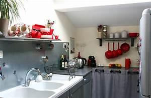 nouvelle decoration cuisine gris et rouge With deco cuisine rouge et gris