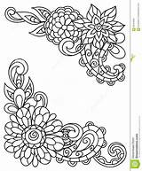 Corner Flowers Adult Line Vignettes Drawing Coloring Printing Flower Templates Template Vector Sketch sketch template