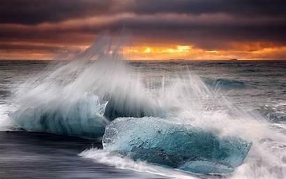 Waves Sea Beach Crashing Sunset Wave Ice