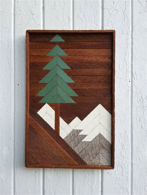 reclaimed wood wall art mountain pine tree scene    lath art wall home decor