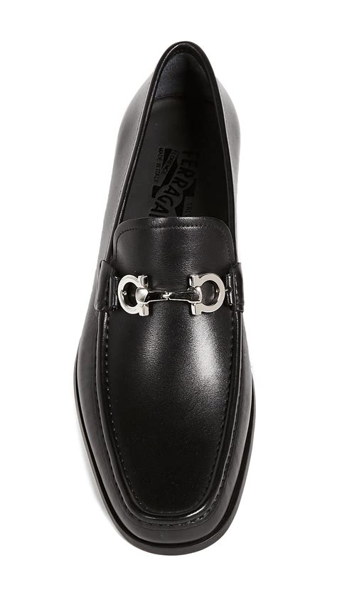 ferragamo chris reversible bit loafers  black  men lyst
