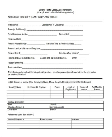 sample lease agreement forms
