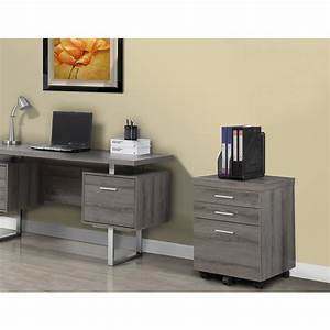Monarch Specialties 3 Drawer File Cabinet With Castors In