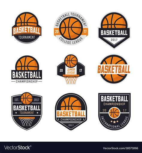 set  basketball logos royalty  vector image