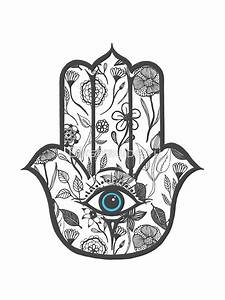 """Simple Hand Drawn Floral Hamsa Hand"" Stickers by ..."