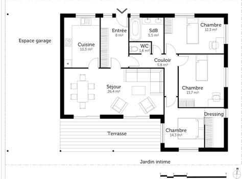 plan de maison 3 chambres plain pied plan maison plain pied avec 3 chambres ooreka