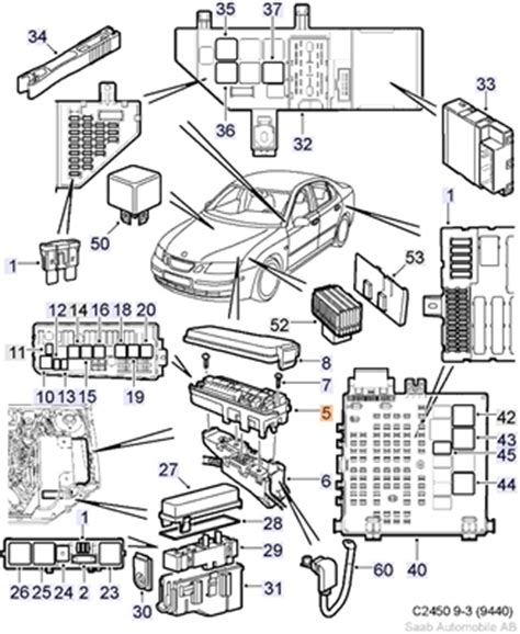 06 Saab 9 3 Fuse Diagram by Saab 9 3 Electrical Distribution Unit 2003 2007 5