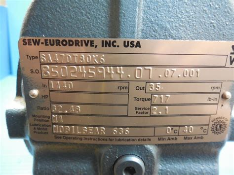 sew eurodrive usa new sew eurodrive sa47dt80k6 speed reducer with dft80k6 motor industrial usa